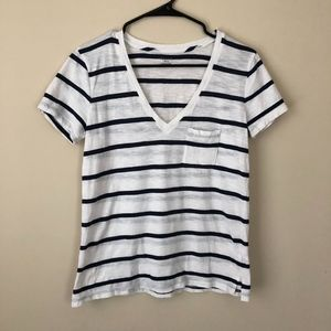 Madewell Navy Blue & White Striped T-shirt